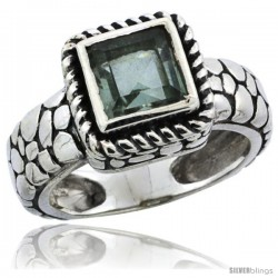 Sterling Silver Bali Inspired Square Ring w/ 6mm Princess Cut Natural Green Amethyst Stone, 7/16 in. (11 mm) wide
