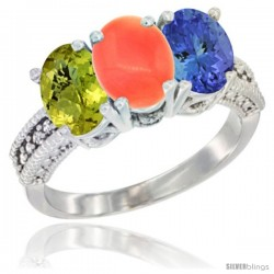 10K White Gold Natural Lemon Quartz, Coral & Tanzanite Ring 3-Stone Oval 7x5 mm Diamond Accent