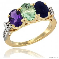 10K Yellow Gold Natural Amethyst, Green Amethyst & Lapis Ring 3-Stone Oval 7x5 mm Diamond Accent