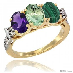 10K Yellow Gold Natural Amethyst, Green Amethyst & Malachite Ring 3-Stone Oval 7x5 mm Diamond Accent