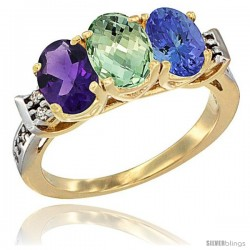 10K Yellow Gold Natural Amethyst, Green Amethyst & Tanzanite Ring 3-Stone Oval 7x5 mm Diamond Accent