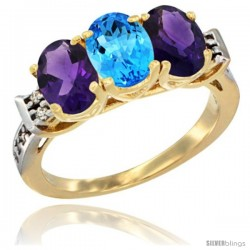 10K Yellow Gold Natural Swiss Blue Topaz & Amethyst Sides Ring 3-Stone Oval 7x5 mm Diamond Accent