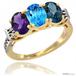 10K Yellow Gold Natural Amethyst, Swiss Blue Topaz & London Blue Topaz Ring 3-Stone Oval 7x5 mm Diamond Accent