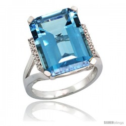 Sterling Silver Diamond Natural London Blue Topaz Ring 12 ct Natural Emerald Cut 16x12 stone 3/4 in wide