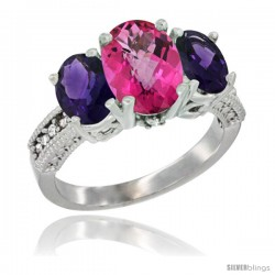 10K White Gold Ladies Natural Pink Topaz Oval 3 Stone Ring with Amethyst Sides Diamond Accent