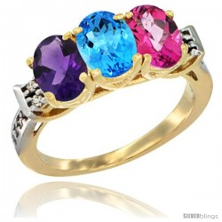 10K Yellow Gold Natural Amethyst, Swiss Blue Topaz & Pink Topaz Ring 3-Stone Oval 7x5 mm Diamond Accent