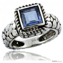 Sterling Silver Bali Inspired Square Ring w/ 6mm Princess Cut Natural Blue Topaz Stone, 7/16 in. (11 mm) wide