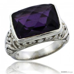 Sterling Silver Bali Inspired Rectangular Filigree Ring w/ 14x10mm Checkerboard Cut Natural Amethyst Stone, 15/32 in. (12 mm)