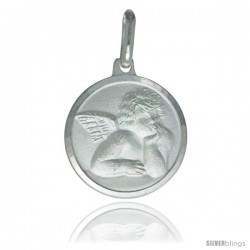 Sterling Silver Guardian Angel Medal 5/8 in Round Made in Italy, Free 24 in Surgical Steel Chain