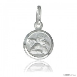 Sterling Silver Guardian Angel Medal 3/8 in Round Made in Italy, Free 24 in Surgical Steel Chain