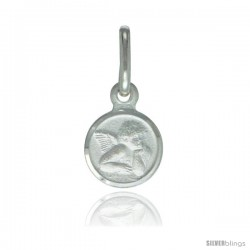 Sterling Silver Guardian Angel Medal 5/16 in Round Made in Italy, Free 24 in Surgical Steel Chain