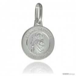 Sterling Silver Saint Jude Medal 1/2 in Round Made in Italy, Free 24 in Surgical Steel Chain