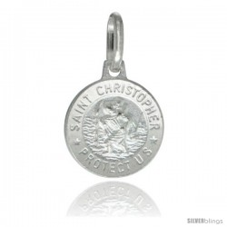 Sterling Silver Saint Christopher Medal 1/2 in Round Made in Italy, Free 24 in Surgical Steel Chain