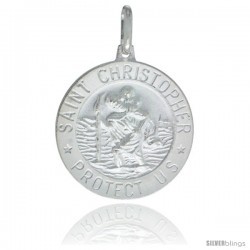 Sterling Silver Saint Christopher Medal 7/8 in Round Made in Italy, Free 24 in Surgical Steel Chain