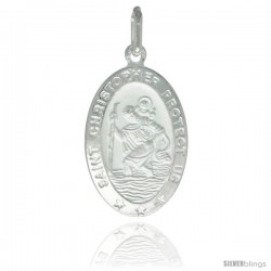 Sterling Silver Saint Christopher Medal 7/8 x 1/2 in Oval Made in Italy, Free 24 in Surgical Steel Chain