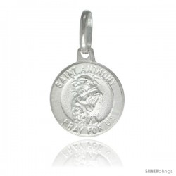 Sterling Silver Saint Anthony Medal 1/2 in Round Made in Italy, Free 24 in Surgical Steel Chain