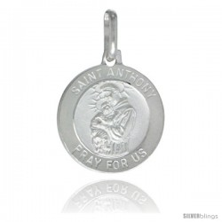 Sterling Silver Saint Anthony Medal 5/8 in Round Made in Italy, Free 24 in Surgical Steel Chain