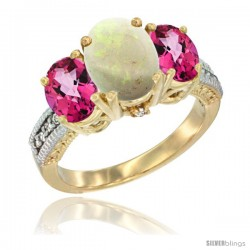 14K Yellow Gold Ladies 3-Stone Oval Natural Opal Ring with Pink Topaz Sides Diamond Accent