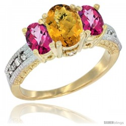 14k Yellow Gold Ladies Oval Natural Whisky Quartz 3-Stone Ring with Pink Topaz Sides Diamond Accent