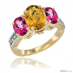 14K Yellow Gold Ladies 3-Stone Oval Natural Whisky Quartz Ring with Pink Topaz Sides Diamond Accent
