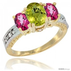 14k Yellow Gold Ladies Oval Natural Lemon Quartz 3-Stone Ring with Pink Topaz Sides Diamond Accent
