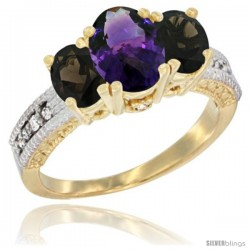14k Yellow Gold Ladies Oval Natural Amethyst 3-Stone Ring with Smoky Topaz Sides Diamond Accent