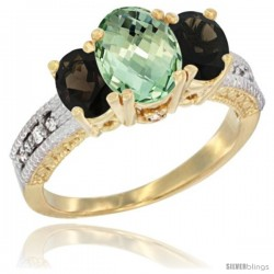 14k Yellow Gold Ladies Oval Natural Green Amethyst 3-Stone Ring with Smoky Topaz Sides Diamond Accent