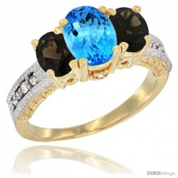 14k Yellow Gold Ladies Oval Natural Swiss Blue Topaz 3-Stone Ring with Smoky Topaz Sides Diamond Accent