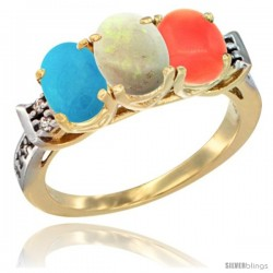 10K Yellow Gold Natural Turquoise, Opal & Coral Ring 3-Stone Oval 7x5 mm Diamond Accent