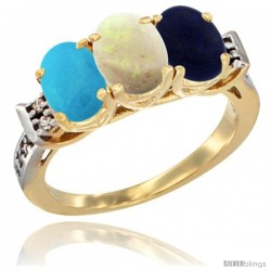 10K Yellow Gold Natural Turquoise, Opal & Lapis Ring 3-Stone Oval 7x5 mm Diamond Accent