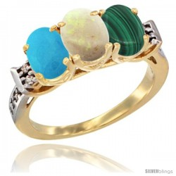 10K Yellow Gold Natural Turquoise, Opal & Malachite Ring 3-Stone Oval 7x5 mm Diamond Accent