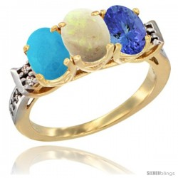 10K Yellow Gold Natural Turquoise, Opal & Tanzanite Ring 3-Stone Oval 7x5 mm Diamond Accent
