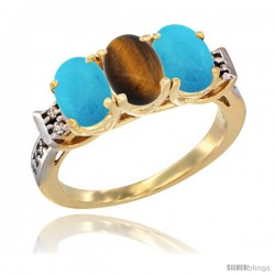 10K Yellow Gold Natural Tiger Eye & Turquoise Sides Ring 3-Stone Oval 7x5 mm Diamond Accent