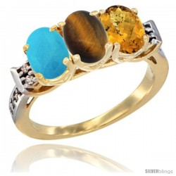 10K Yellow Gold Natural Turquoise, Tiger Eye & Whisky Quartz Ring 3-Stone Oval 7x5 mm Diamond Accent