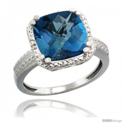 Sterling Silver Diamond Natural London Blue Topaz Ring 5.94 ct Checkerboard Cushion 11 mm Stone 1/2 in wide