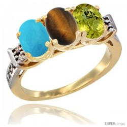 10K Yellow Gold Natural Turquoise, Tiger Eye & Lemon Quartz Ring 3-Stone Oval 7x5 mm Diamond Accent