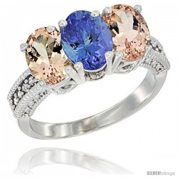 14K White Gold Natural Tanzanite & Morganite Sides Ring 3-Stone Oval 7x5 mm Diamond Accent