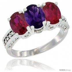 14K White Gold Natural Amethyst & Ruby Sides Ring 3-Stone Oval 7x5 mm Diamond Accent