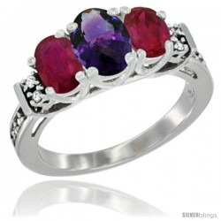 14K White Gold Natural Amethyst & Ruby Ring 3-Stone Oval with Diamond Accent