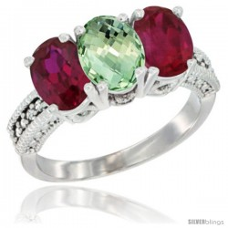 14K White Gold Natural Green Amethyst & Ruby Sides Ring 3-Stone Oval 7x5 mm Diamond Accent