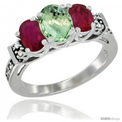 14K White Gold Natural Green Amethyst & Ruby Ring 3-Stone Oval with Diamond Accent