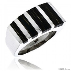 """Sterling Silver Striped Rectangular Ring, w/ Ancient Wood Inlay, 9/16"""" (14 mm) wide"""