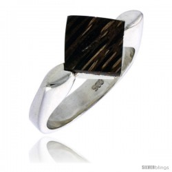 """Sterling Silver Diamond-shaped Ring, w/ Ancient Wood Inlay, 9/16"""" (15 mm) wide"""