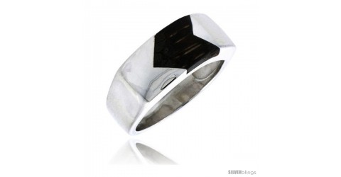 7mm wide size 13 Sterling Silver Unisex Ring w// a Rectangular Jet Stone 1//4