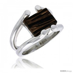 "Sterling Silver Wire Ring, w/ Ancient Wood Inlay, 5/8"" (16 mm) wide"