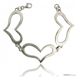 "Sterling Silver Stampato Heart Bracelet, 1 1/16"" (28 mm) wide"