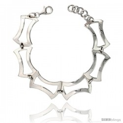 "Sterling Silver Stampato Square Link Bracelet, 5/8"" (16 mm) wide"