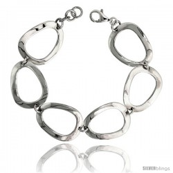 "Sterling Silver Stampato Oval Link Bracelet, 13/16"" (21 mm) wide"