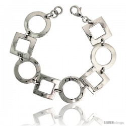 "Sterling Silver Alternating Circles & Squares Stampato Bracelet, 13/16"" (20 mm) wide"