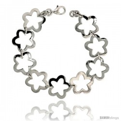 "Sterling Silver Stampato Star Link Bracelet, 3/4"" (18 mm) wide"